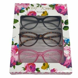 Betsey Johnson 3 Cats Eye Reading Glasses +1.50